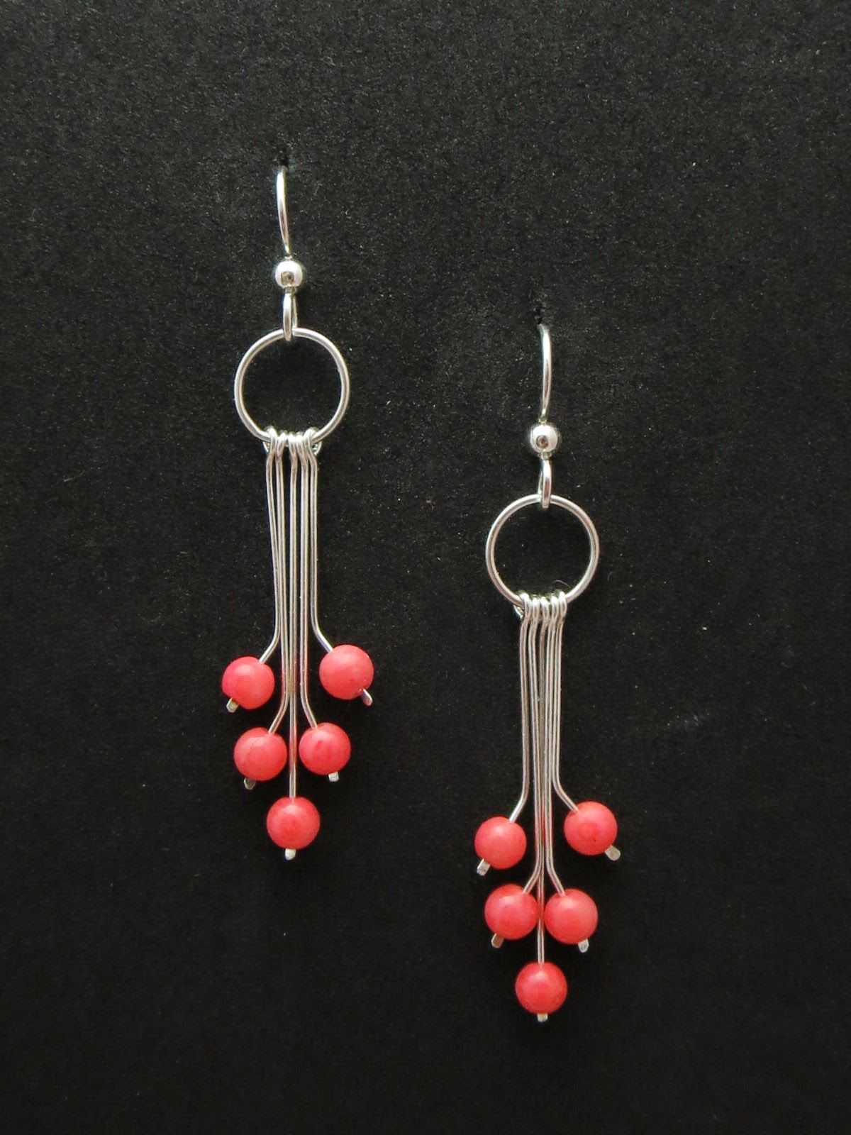 Earrings Dyed Pink Coral Beads On Multiple Wire Dangles