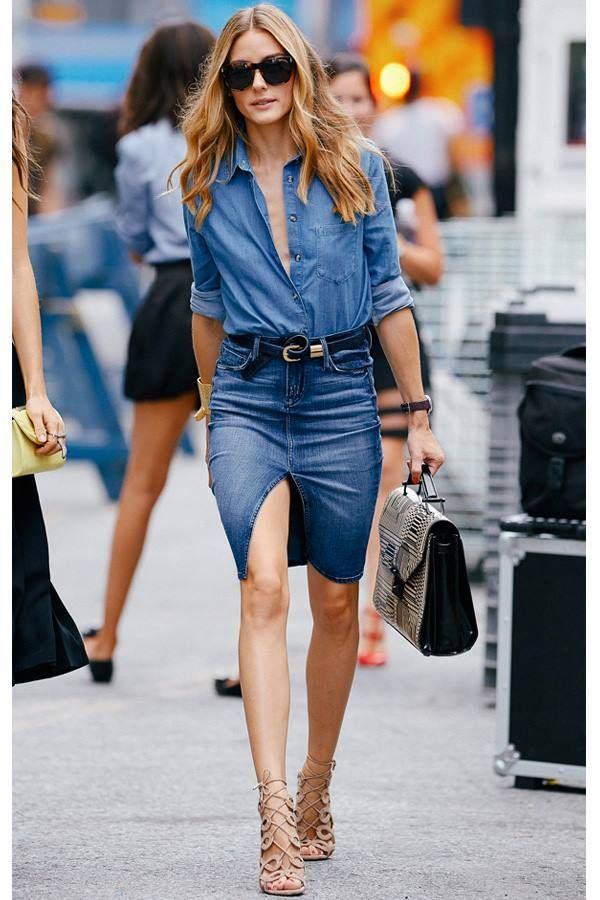 f39265f610 Olivia Palermo rocks a great double denim look with this shirt and pencil  skirt combo
