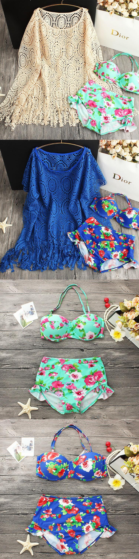 Korean sexy beach swimwear lace small chest gathered three piece steel supporting Bikini hot spring bathing suit $32