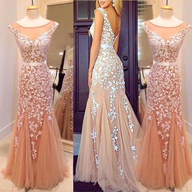 Delicate Mermaid Scoop Neck Cap Sleeve Long Prom Dress With Applique