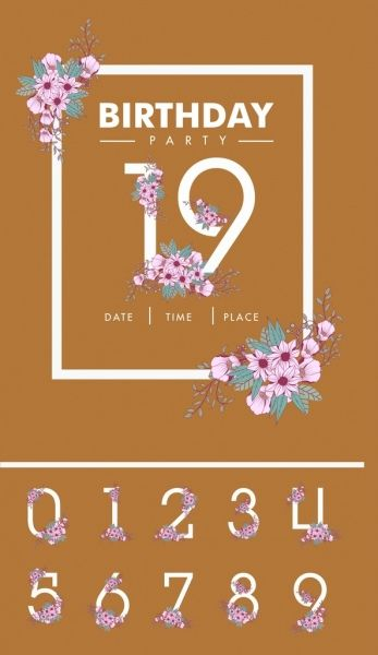 Birthday Card Background Numbers And Flowers Decoration Cards