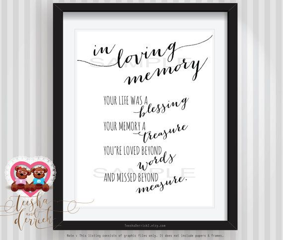 Instant Printable In Loving Memory Wedding Memorial Table Sign Your Life Was A Blessing C0204