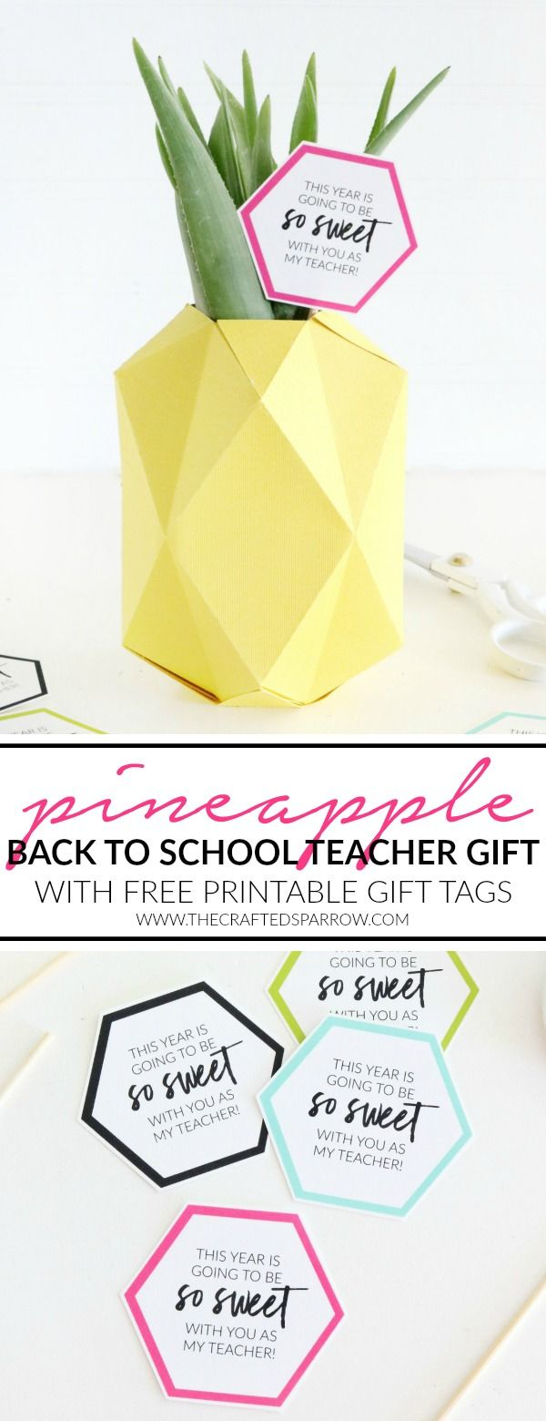 Pineapple Vase Back to School Teacher Gift Idea & Printable Tags ...