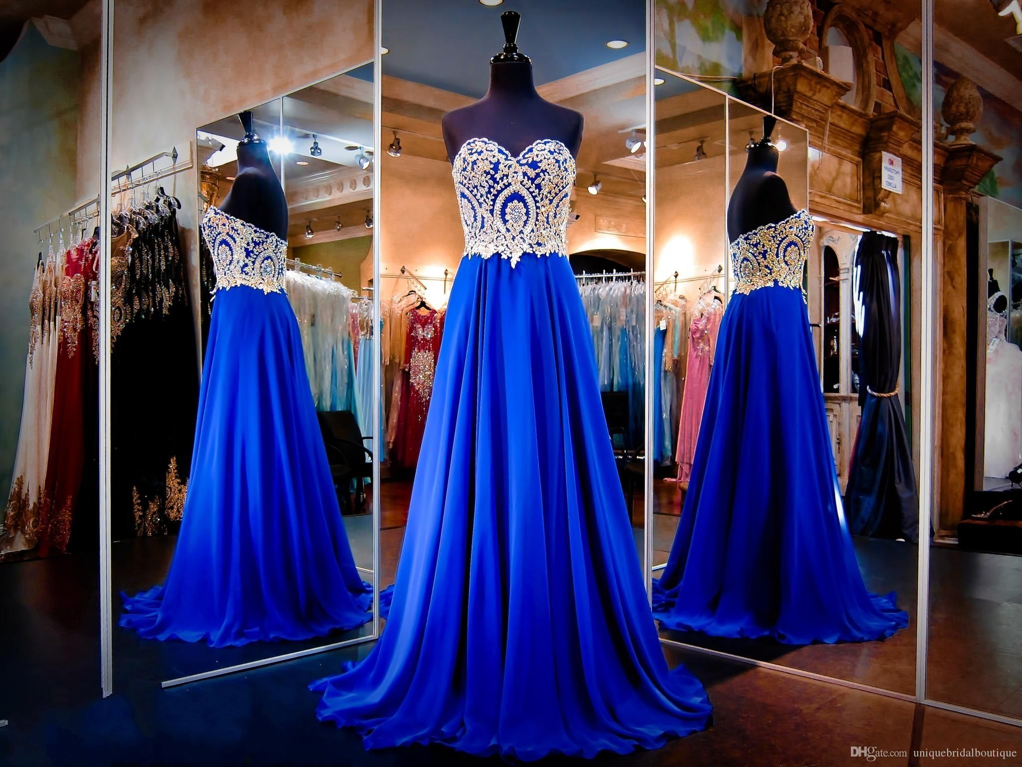 royal blue prom dresses real images sweetheart neck appliqued