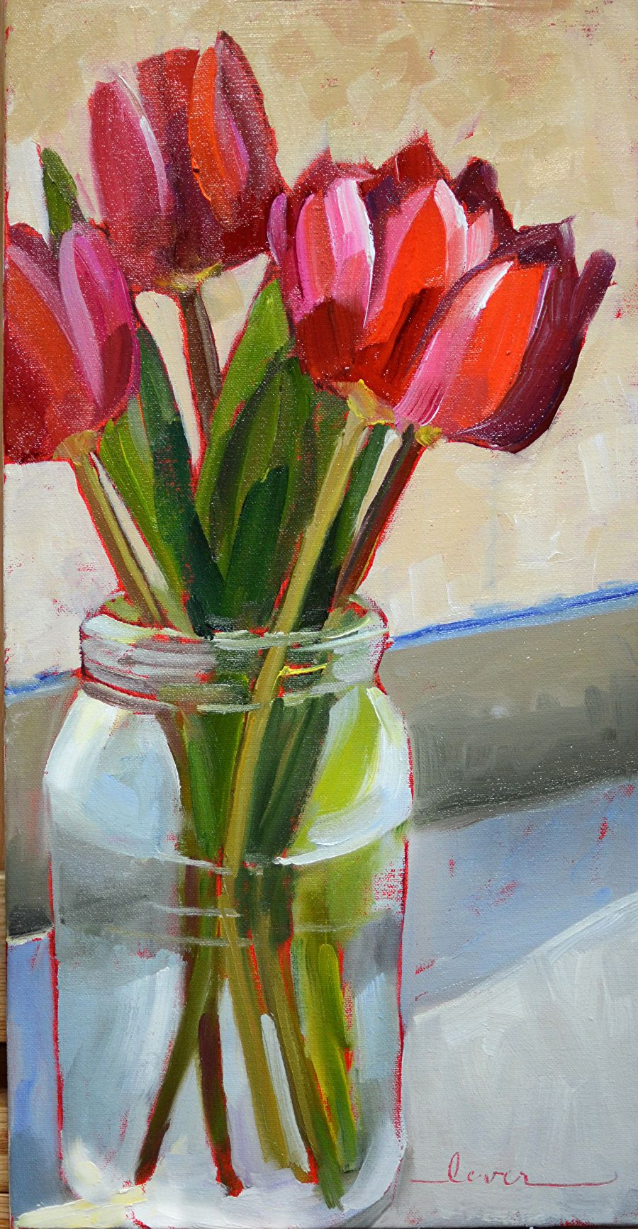Lori\'s Tulips by MARTHA LEVER Oil ~ 20 x 10 | Saul Weinberger Art ...
