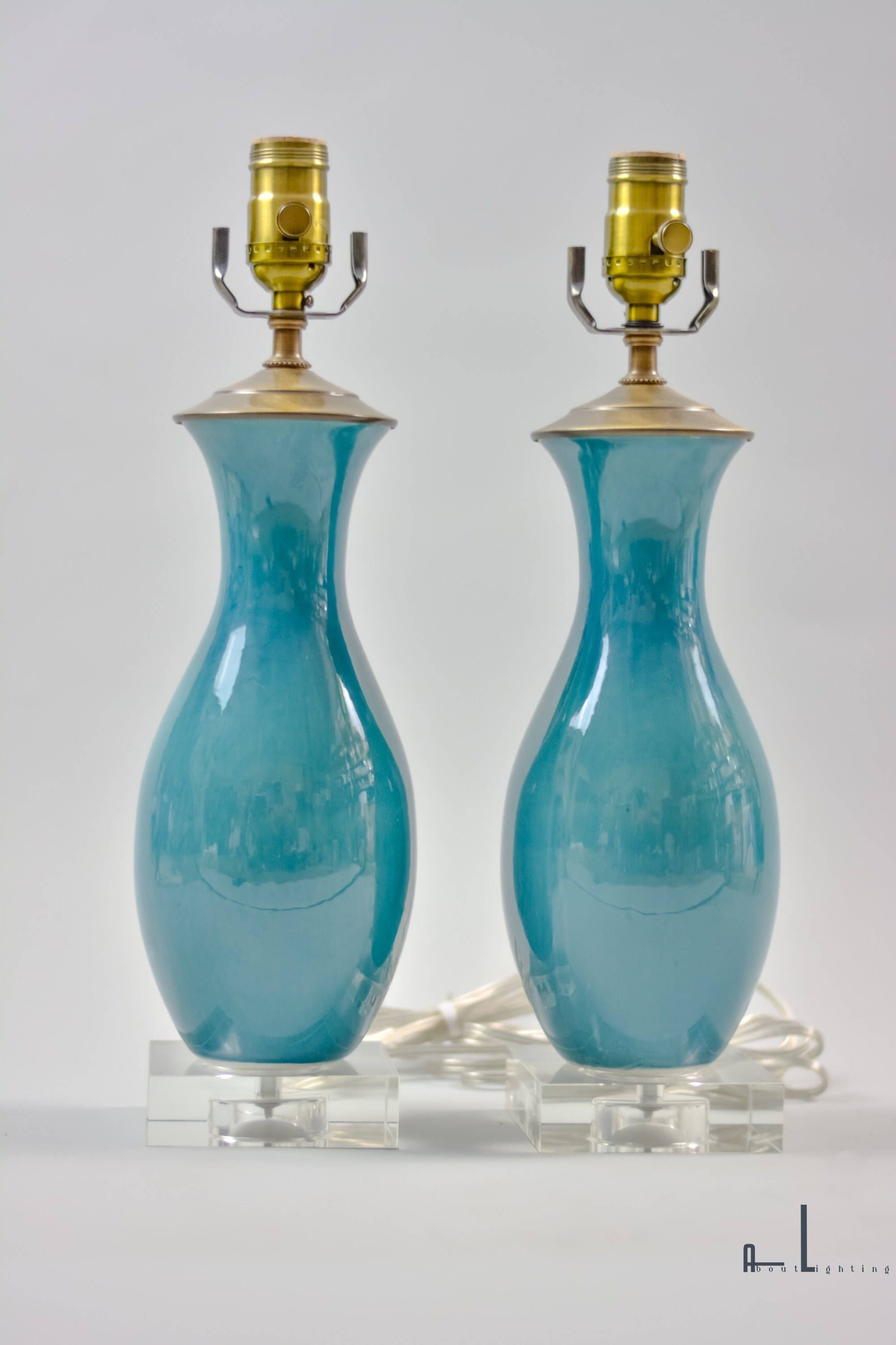 Blue glass table lamps  Modern Crackle Glazed Blue Table Lamps Pair  Etsy Lighting
