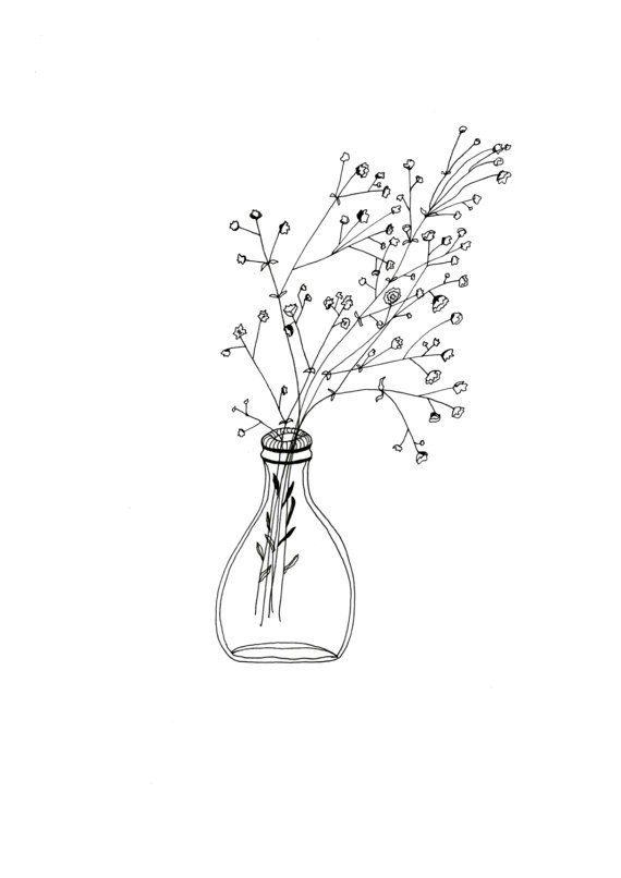 White flowers artwork vase patterned illustration simple black white flowers simple glass vase bottle patterned illustration mightylinksfo Choice Image