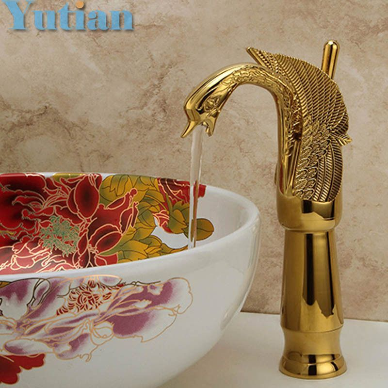 Buy New Design Luxury Copper hot and cold sink taps Swan faucet Gold ...
