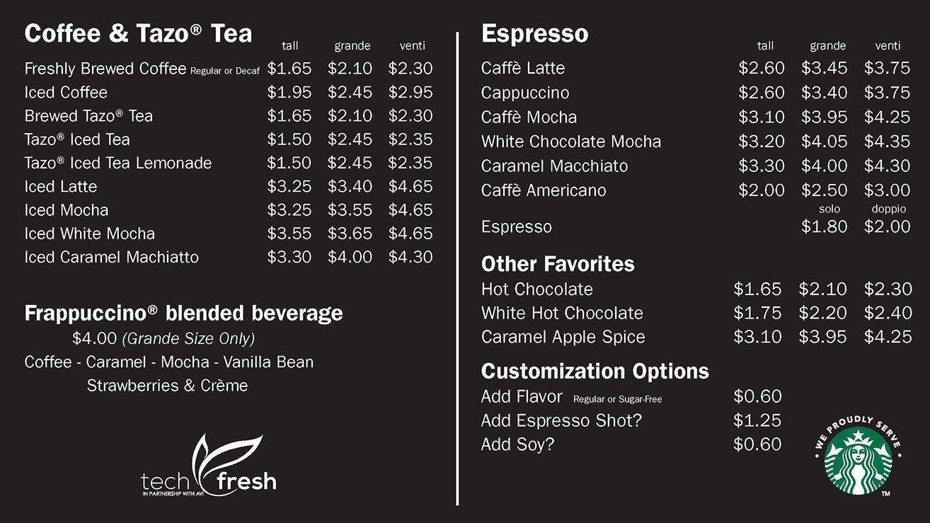 Image result for starbucks menu Coffee shop menu, Coffee
