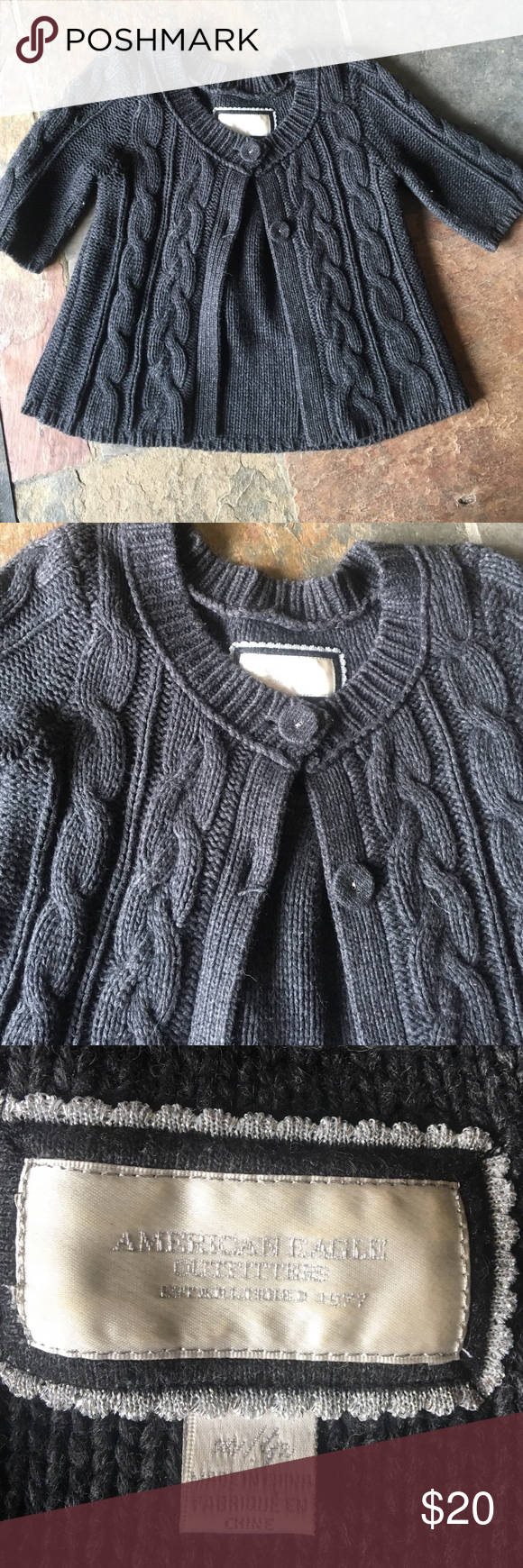 Cropped cable knit sweater Charcoal grey 2 button short sleeve cable knit sweater. Excellent condition. Great over a tank or flowy top. American Eagle Outfitters Sweaters