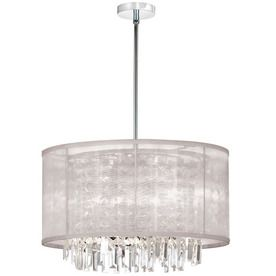 Dainolite Lighting W Organza Bling Polished Chrome Crystal Accent Pendant Light With Fabric Shade