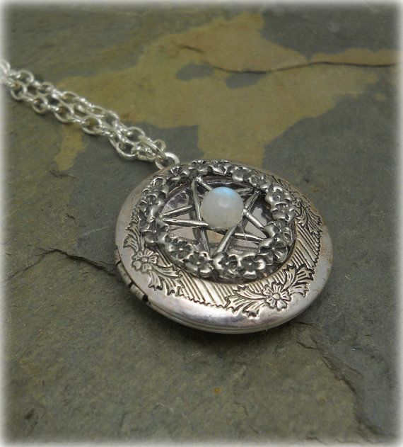 Victorian pentacle filigree locket necklace with moonstone victorian pentacle filigree locket necklace with moonstone renaissance paganwiccan jewelry aloadofball Gallery