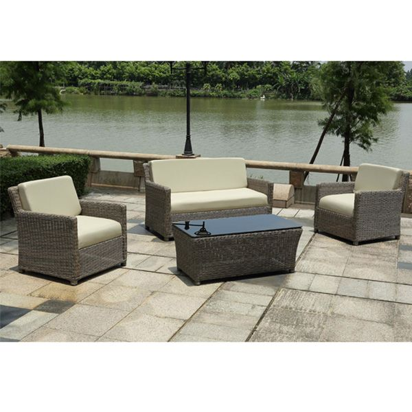 Lounge sofa rattan  Fireproof garden aluminum frame lounge furniture patio Combination ...