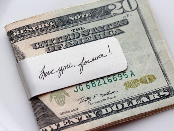 Handwriting Money Clip - Custom Engraved Handwriting Money Clip Personalized Gift for Men Groomsmen Gifts Custom Engraved Money Clip Gift