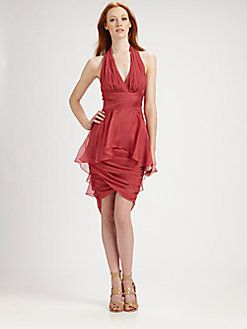 Badgley Mischka - Silk Chiffon Halter Dress