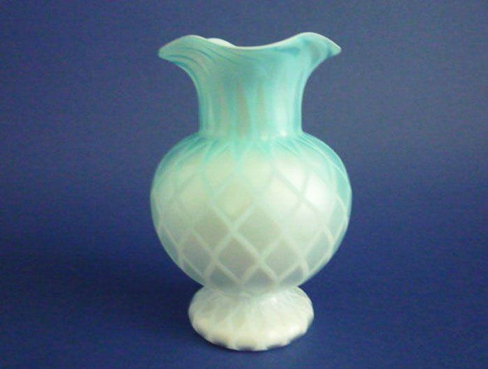 Fine Thomas Webb Cased Blue Satin Glass Vase C1880 Porceline And