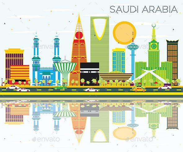 Saudi Arabia Skyline With Color Landmarks And Reflections Islamic Calligraphy Painting Saudi Arabia Happy National Day