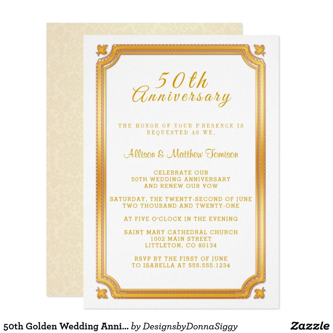 50th Golden Wedding Anniversary Invitation Zazzle Com Golden