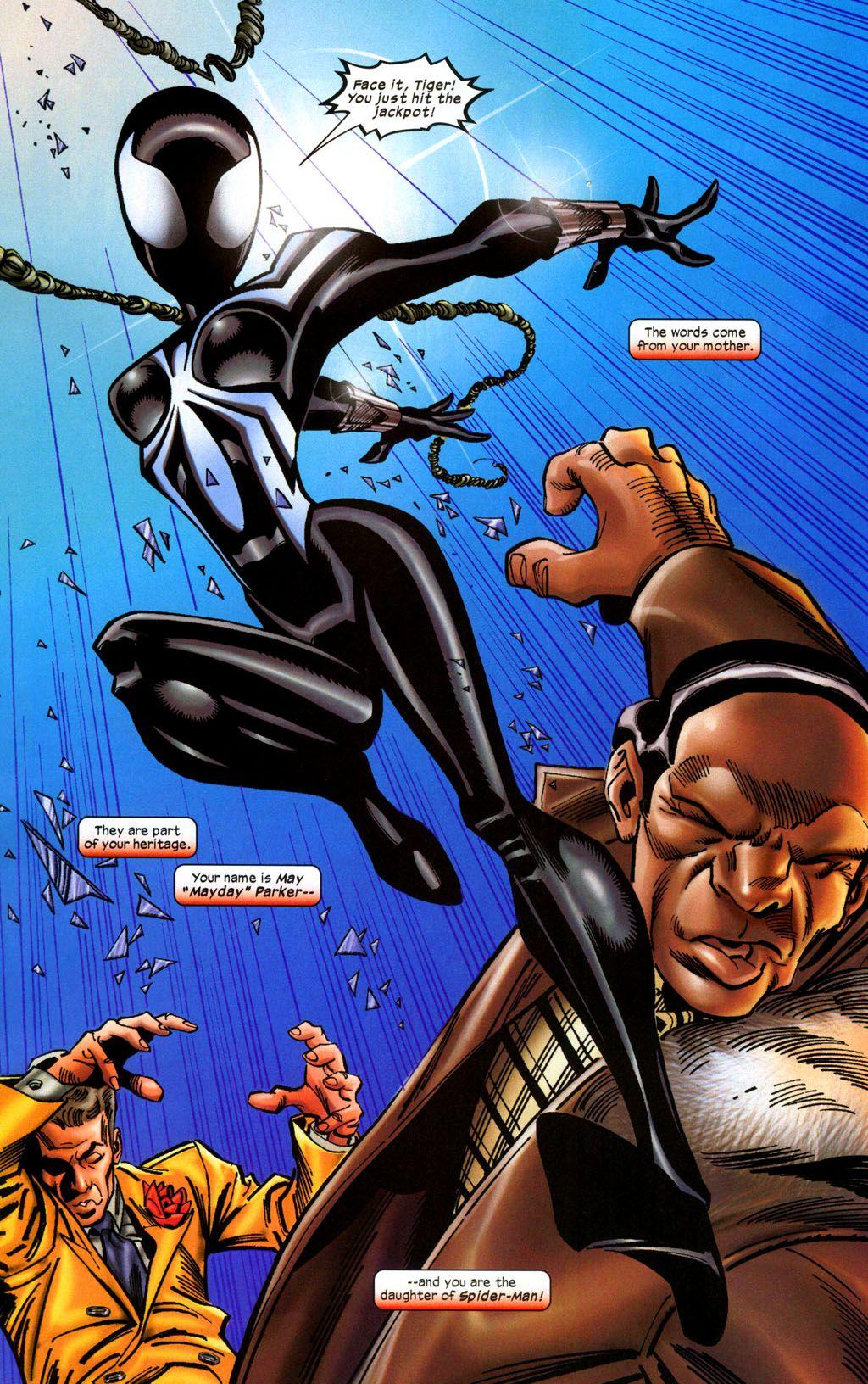 Black suited spider girl