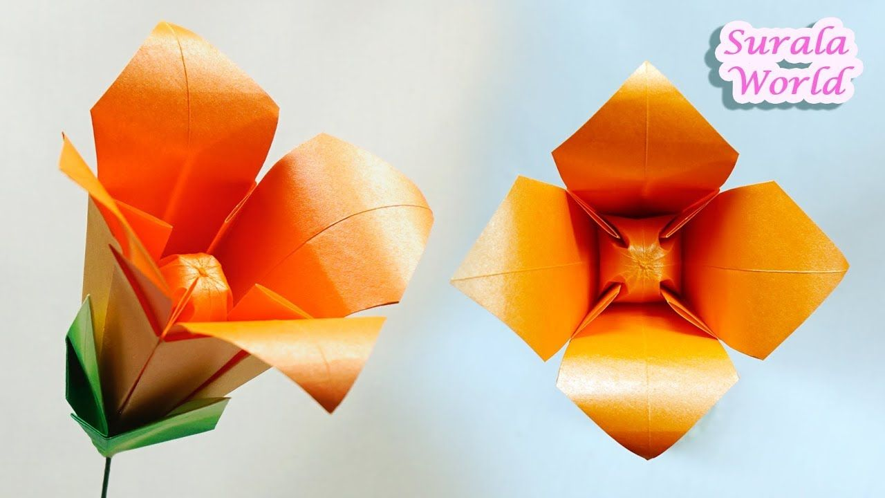 Origami Lily Flower Paper Lily Flower Calyx Origami Flowers