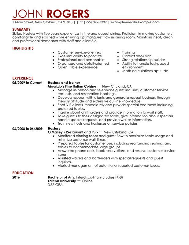 Restaurant Server Resume Example Bartender Hostess For Restaurant