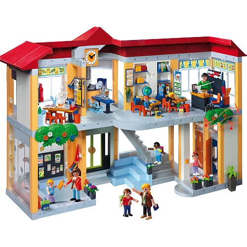playmobil furnished school building playmobil play sets figures fao schwarz