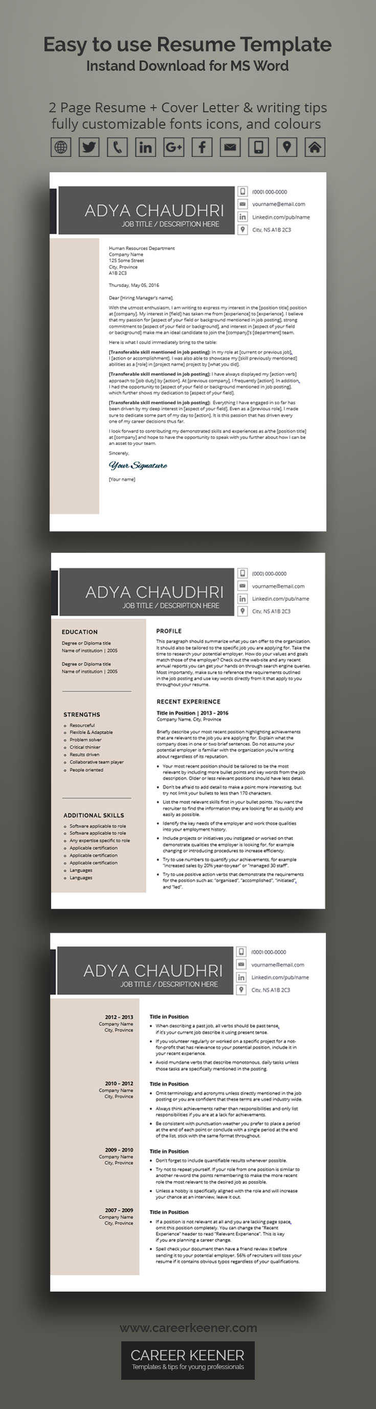 modern resume template resume   cover letter for ms word includes writing tips fully