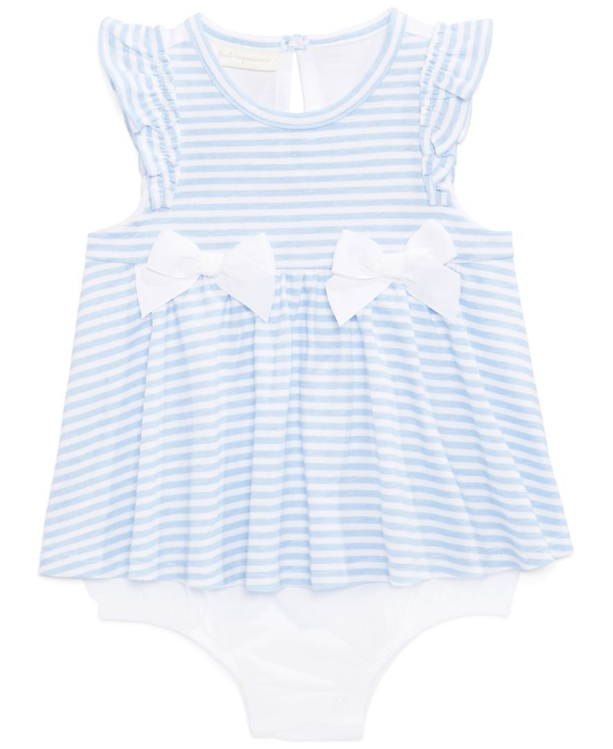 First Impressions Baby Girls  Striped Ruffle Cotton Romper Choose Size