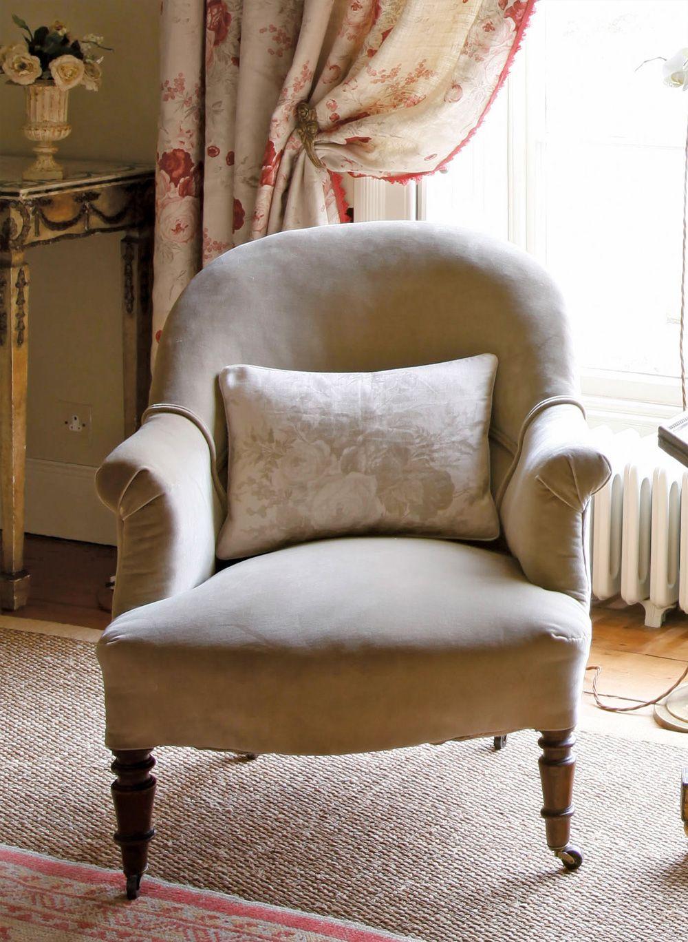 Sage Velvet Armchair And Sage Roses Cushion   Kate Forman