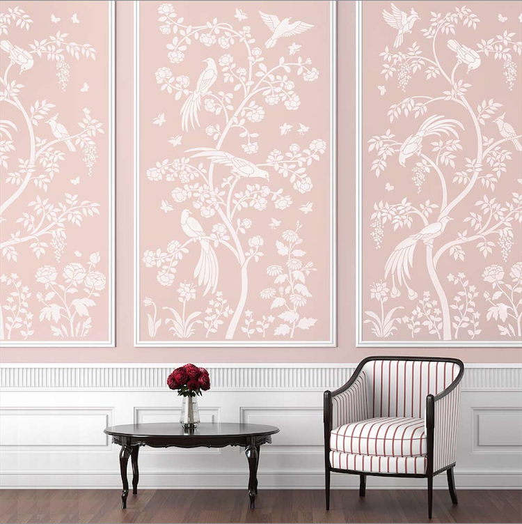 The Birds and Roses Chinoiserie Wall Mural Stencil from Cutting Edge
