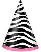 Unique Zebra Print Party Hats (8 Count), Multicolor