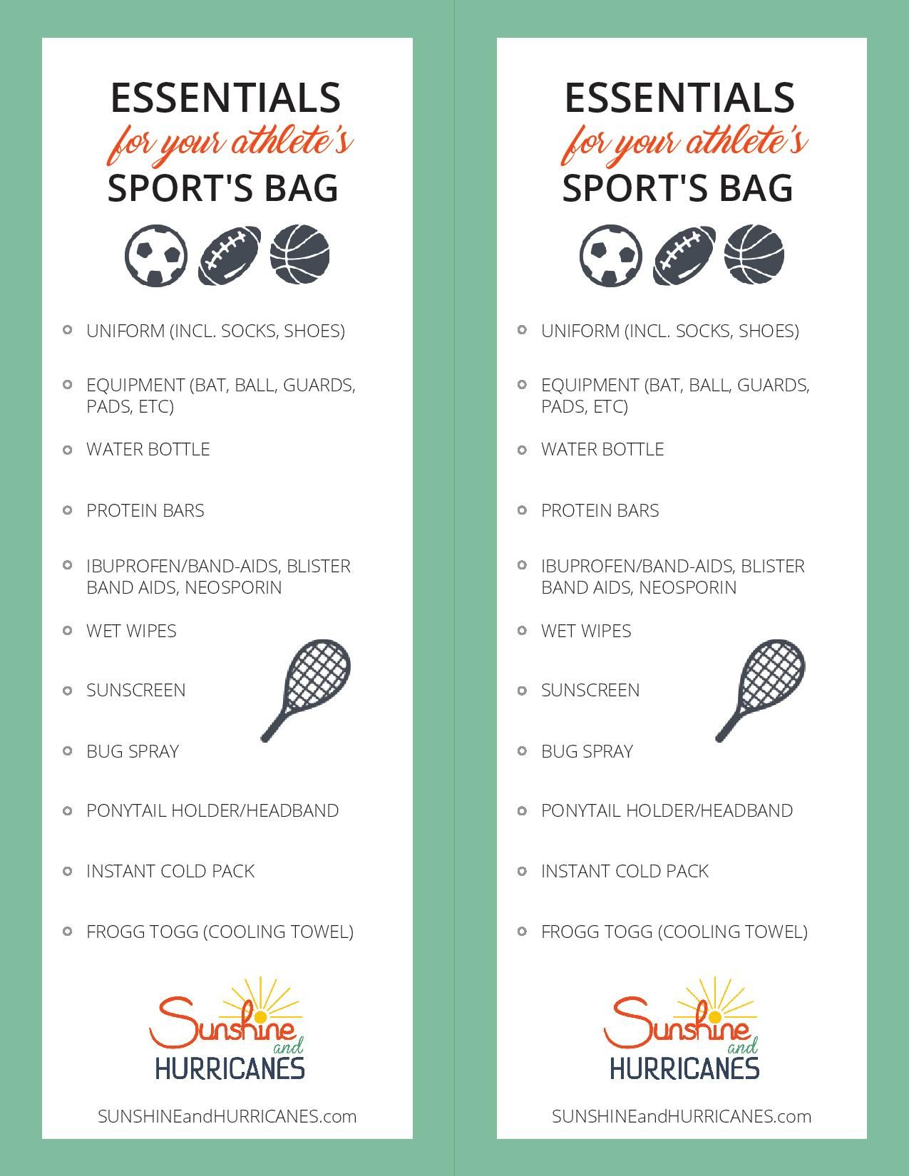 Kids Sports Bag Essentials With Free Printable Sports Bag Essentials Sport Bag Kids Sports