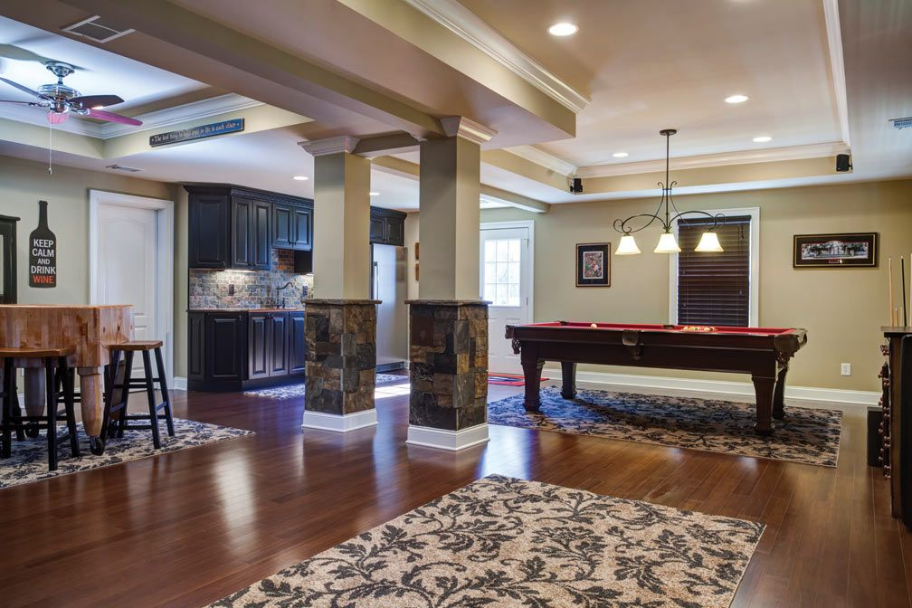 basement open layout | Basement design - open floor plan showing ...