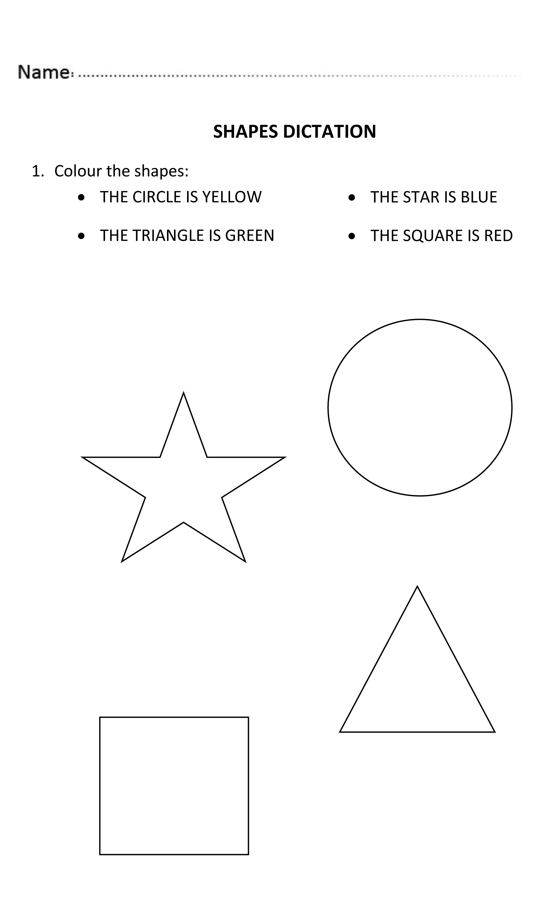 Fun Shapes Dictation For Nursery And Reception Students