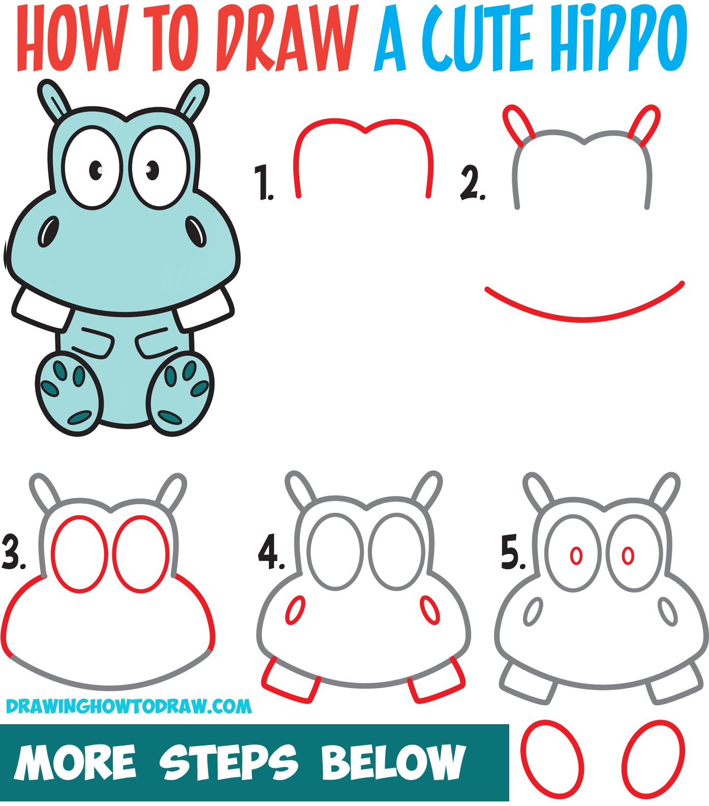 How to Draw a Cute Cartoon Hippo Simple Steps Drawing ...