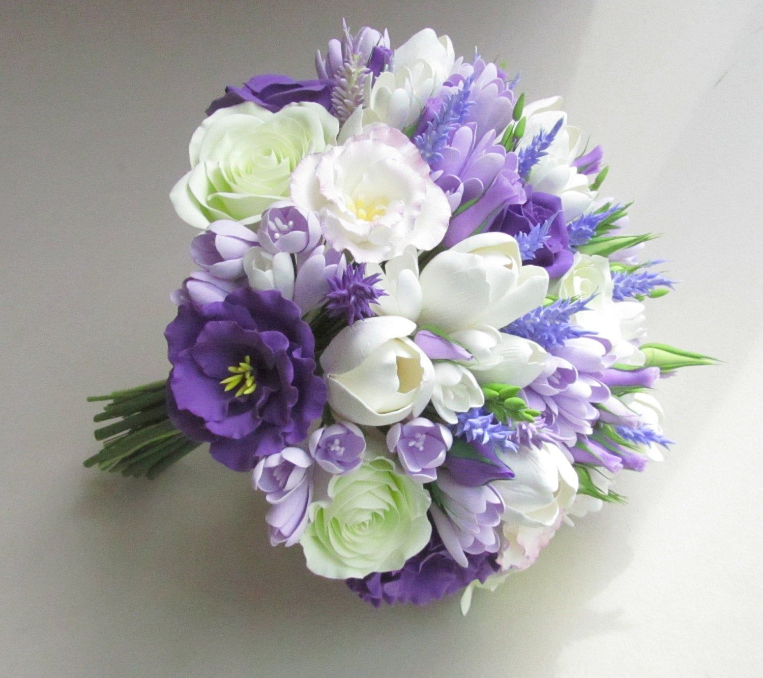 Freesia Eustoma Tulip Rose Lavender Bridal Bouquet Lilac Etsy White Wedding Bouquets Lavender Bridal Bouquet Rose Wedding Bouquet