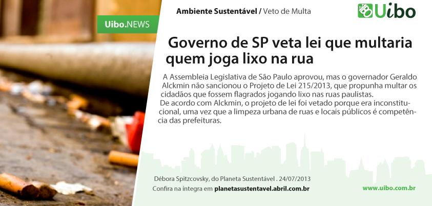 Governo de SP veta lei que multaria quem joga lixo na rua. http://conv.ly/lixonarua