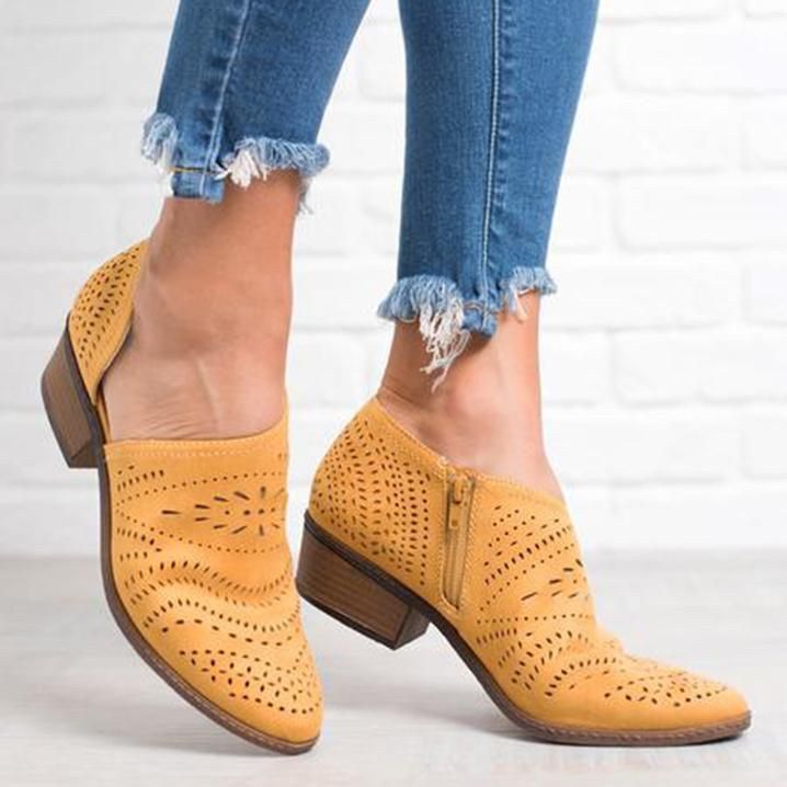 1ee47e3cfa347 Elegant Hollow-Out Low Heel Zipper Ankle Boots | My Style | Low ...