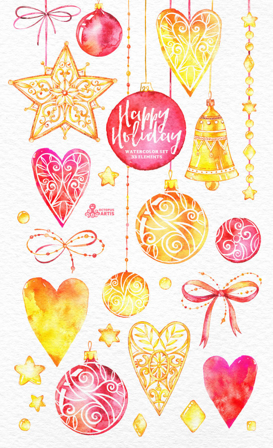Happy Holiday. 33 Watercolor Elements, hand painted clipart, gold ...