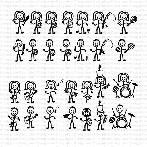 Stick Figure People Activity Themed SVG File Collection