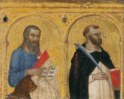 Andrea di Buonaiuto da Firenze - Madonna con Bambino e dieci Santi, dettaglio santi Marco e Pietro - c. 1365-1370 - National Gallery, London