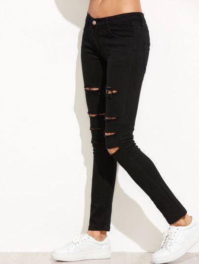 Pin de yosimar cariño en outfits   Jeans delgados rasgados ...
