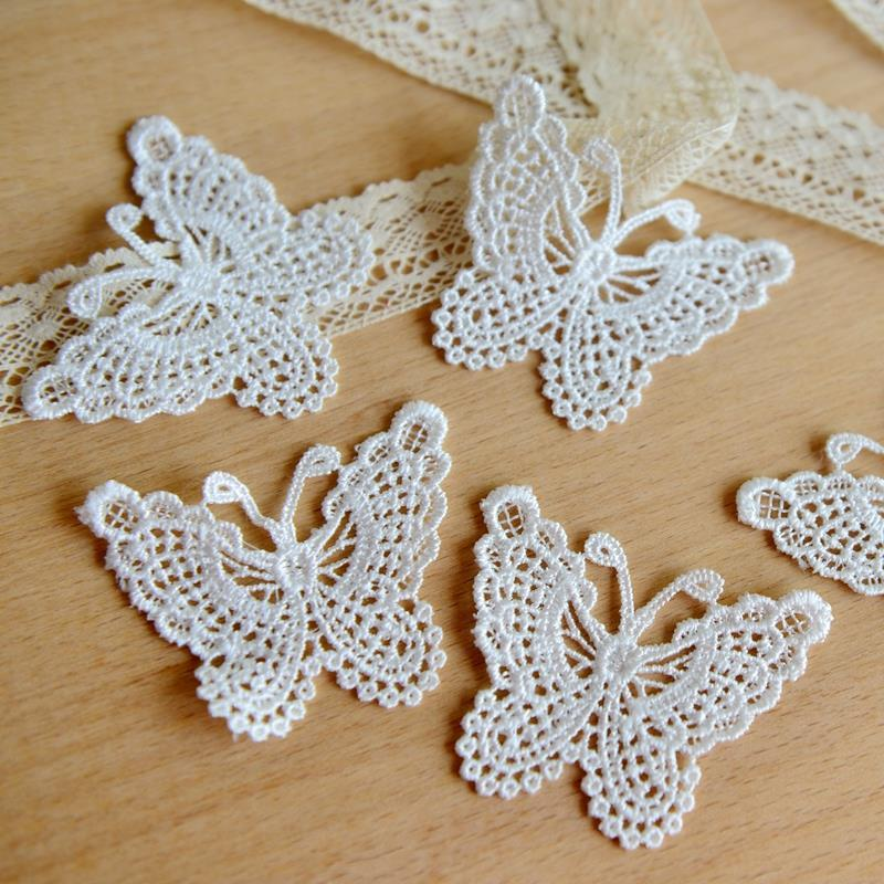Lace clothing accessories exports fine white bow soluble lace embroidery 6.5cm*5cm