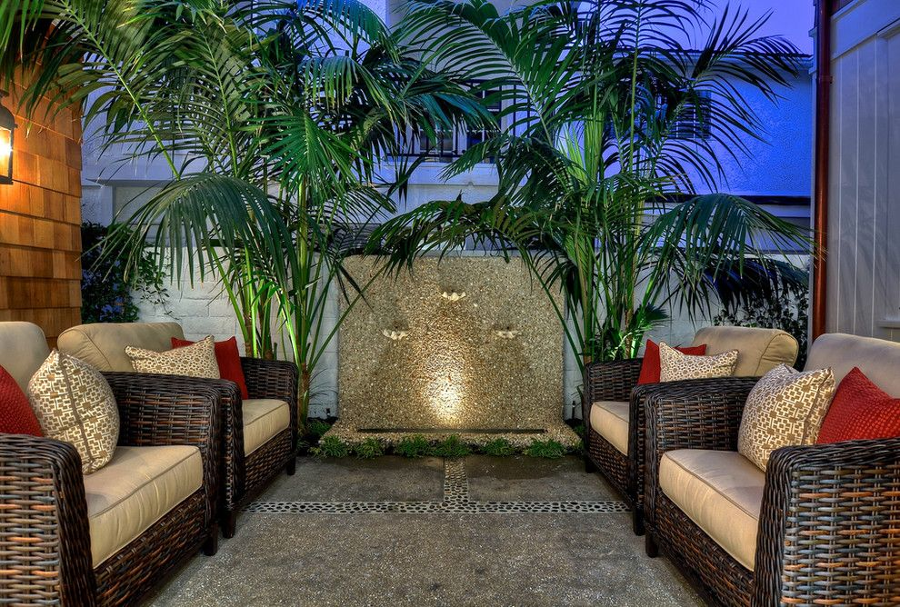 Outdoor Wall Fountains Patio Tropical With Copper Gutters Courtyard Garden