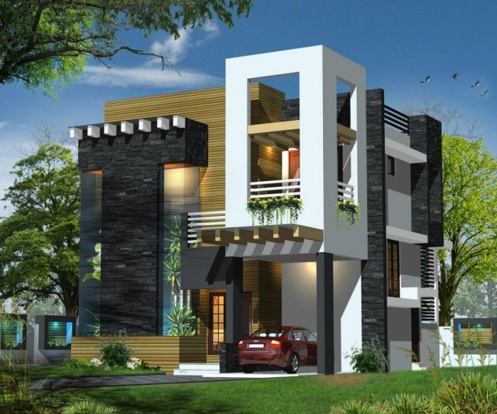 Modern front elevation pinteres for Contemporary indian house elevations