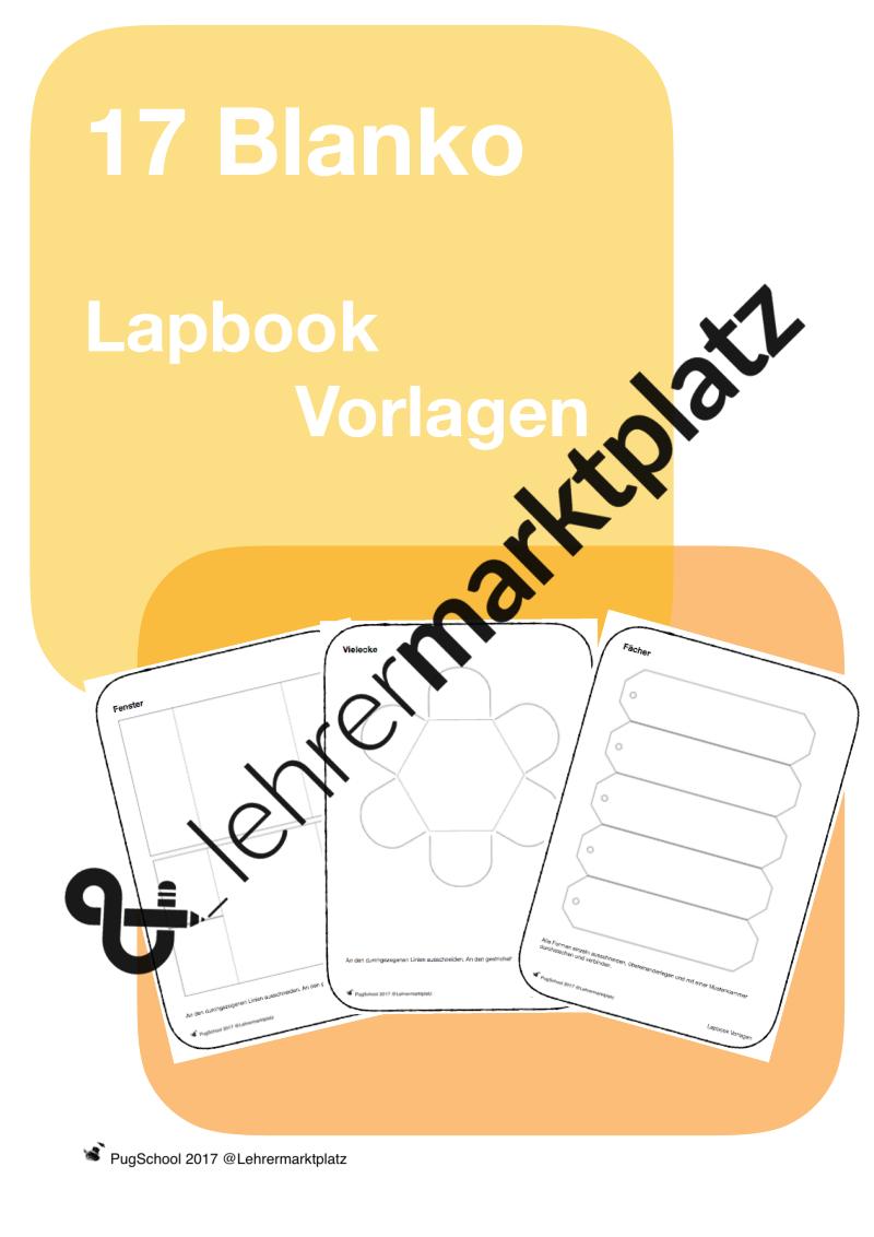 17 Blanko Lapbook Vorlagen