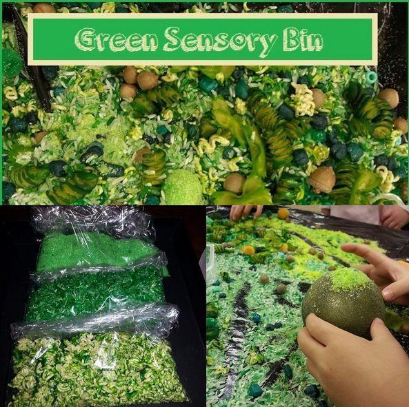 Green sensory bin. Different types of pasta, rice, green food ...