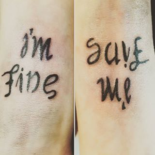 Images Tagged With Imfinesaveme On Instagram With Images Save Me Tattoo Ambigram Tattoo Im Fine Tattoo