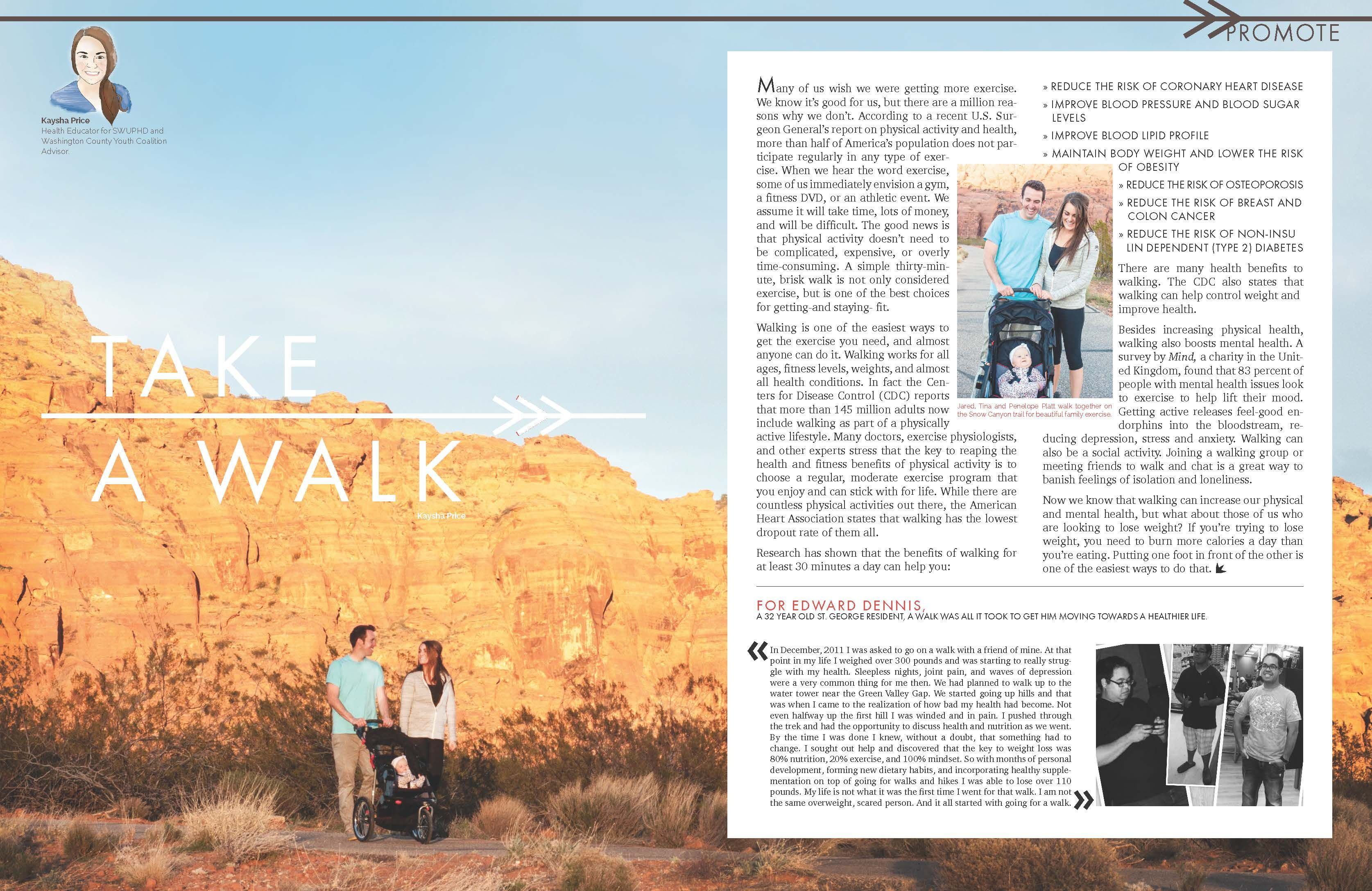 Take A Walk Article By Kaysha Price For Southwest Utah Public Health Department Health Magazine Health Magazine Health Department Public Health