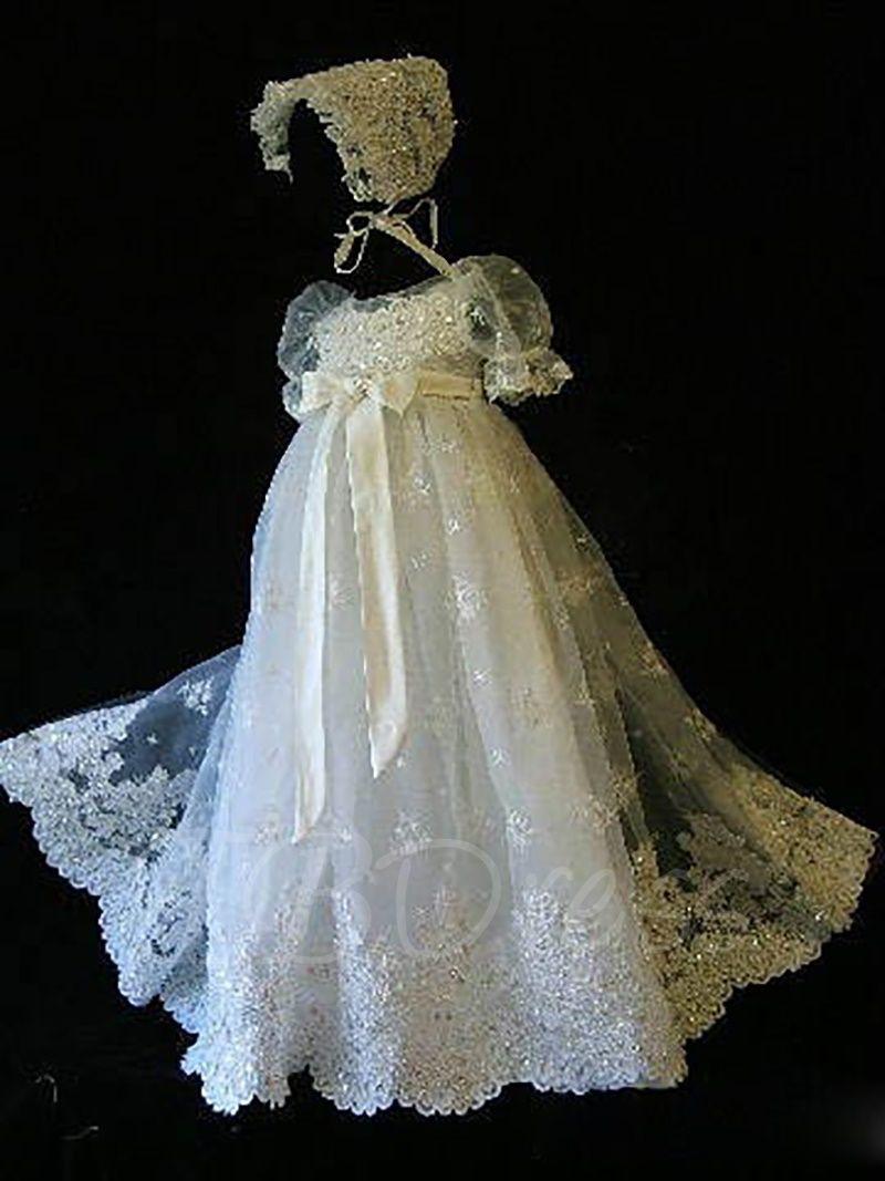 Short Sleeve Appliques Baby Girl\'s Christening Gown | Meme\'s Bean ...